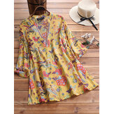 Women 3/4 Sleeve V-neck Floral Print Vintage Blouse