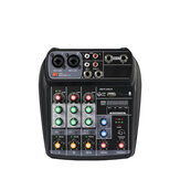 ELM AI-4 Karaoke Audio Mixer Mixing Console Compact Sound Card Mixing Console Digital BT MP3 USB for Music DJ Recording