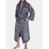 Mens Pure Color Thick Fleece Sleepwear Soft Hooded Pajamas