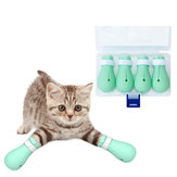 4 pçs / set Anti-Scratch Cat Foot Shoes Silicone Pet Grooming Claws Cover