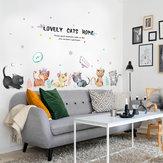 Miico SK7184 Pintado a mano Gato Etiqueta de la pared Habitación infantil Pegatinas decorativas para jardín de infantes DIY Etiqueta