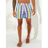Mens Holiday Colorful Short décontracté hawaïen à rayures de plage