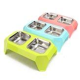 Stainless Steel Ganda Mangkuk Hewan Peliharaan Makanan Feeder Air untuk Anjing Anjing Kucing Persediaan Hewan Peliharaan Makan Piring