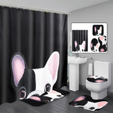Animal Lovely Dog Printed Shower Curtain Drapes Set Polyester Bath Curtains Toilet Mats
