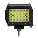 4 pouces 72W 4 rangées LED Barre de lumière de travail Spot faisceau faisceau de feux de route tout-terrain, blanc pur 10 ~ 30V pour bateau de camion de voiture SUV