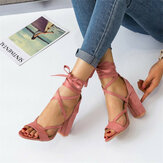 Women Fashion Strappy Open Toe Suede High Heel Sandals