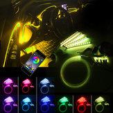 LED Araba İç Zemin Işıkları Şerit RGB 6 M EL Optik Fiber Dekorasyon Şerit Işık Lamba bluetooth App Kontrolü