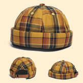 Landlord Cap Dome Cap Innocent Plaid Sailor Cap  Street Trends Melon Stripe Brimless Hats Skull Cap