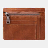 Men Genuine Leather Viintage Thin Wallet Zipper Coin Bag