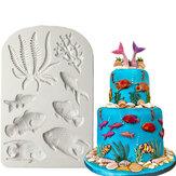 3D Sea Coral Fish Silicone Stampo Fondente Stampo Cake Decorating Strumenti Stampo