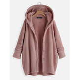 Women Solid Color Button Long Sleeve Fleece Thick Coats