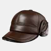 Men's Thick Warm Outdoor Earmuffs Cotton Hat Leather Hat