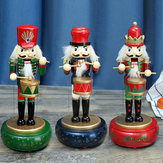32CM Wooden Guard Nutcracker Soldier Toy Music Box Christmas Decorations Xmas Gift