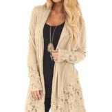 Womens Cardigan Long Sleeve Sweater Lace Coat