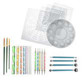 25pcs Mandala Dotting Tools Rock Painting Kit Dot Art Rock Pen Paint Stencil