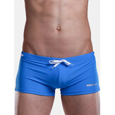 Mens Beach Swimming Spa Low Waist Sexy Solid Color Shorts Summer Casual Trunks