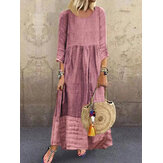 Women 3/4 Sleeve O-neck Stitching Vintage Maxi Dress