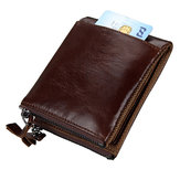 Men RFID Genuine Leather Short Double Zipper Wallet
