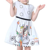 Kid Girls Short Sleeve Cartoon Character Printed Dress