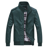 Casual Business Pure Colour Zipper Stand Collar Men Jacket