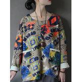 ヴィンテージ女性長袖プリントフロントポケット不規則なスウェットシャツ