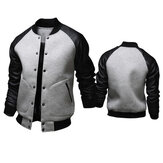 Splicing Leather Sleeve Big Pockets Varsity Jacket