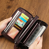 Menn Oil Wax Leather Vintage Long Wallet Card Holder
