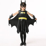 Halloween Kid Girls Black Ärmlös Bat Cosplay Kostym