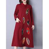 エスニック女性長袖プリントパッチワークポケットドレス