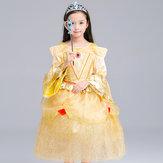 Kid Girls Bell Mouw O-Neck Fancy Princess Dress