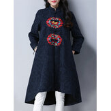 Ethnic Women Long Sleeve Embroidered Jacquard Dip Hem Trench Coat