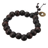Lucky Black Wood Beads Münze Buddhistisches Gebetsarmband Unisex