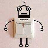 Black Robot Switch Sticker Sala de estar Quarto Wall Poster Home Decor