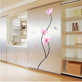 Pvc extraíble flor rosa decoración de la pared del tallo habitación calcomanía etiqueta