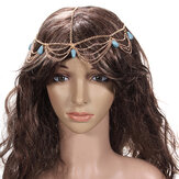 Lady Coiffe Turquoise Stone Gold Headbrand cheveux manchette chaîne