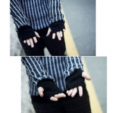 yesmqn Mens Wool Thicken Fingerless Gloves