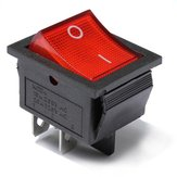 Red Light Lamp 4 Pin DPST ON-OFF Rocker Boat Switch 13A/250V 20A/125V