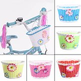 Bicycle Bike Front Basket Decoration Plastic Woven Kids Children Bike Bicycle Cycle Front Basket with Flowers Easy Installation Shopping Holder Case