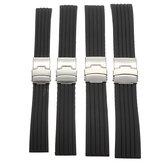 18/20/22 / 24mm bande de montre de sport de silicone noir