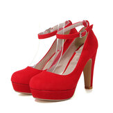 Suede Ankle Buckle Strap High Heel Platform Pumps Buty