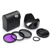 52mm UV CPL FLD Filtre Kit Petal Çiçekli Lens Kapak için Nikon