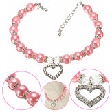 Pet Dog Crystal Heart Charm Pendant Pearls Necklace Collar Pink