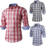 Mens Plaid Long sleeve Shirt Slim Fit Stylish Casual Dress Blouse Top