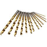 13pcs 1.5-6.5mm HSS Titanium Twist Drills Set Straight Shank Spiral Drill