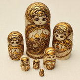 7Pcs Matryoshka Russian Doll Wooden Nesting Toys Engraved Gift Model