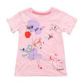 2015 New Little Maven Baby Girl Child Rosa Camiseta de algodón de manga corta con camiseta en la parte superior de la camiseta