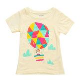 2015新しいリトルメイヴンベビーガールズ子供用エアバルーンイエローコットンショートスリーブTシャツ