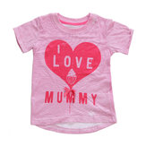 2015 New Little Maven Summer Baby Girl Children Corazón Rosa Camiseta de manga corta de algodón