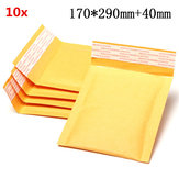 10pcs 170*290mm+40mm Bubble Envelope Yellow Color Kraft Paper Bag Mailers Envelope
