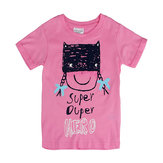 2015 New Summer Baby Girl Children Pink Cotton Short Sleeve T-shirt